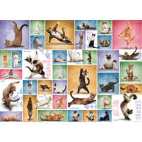 thumb-Yoga Cats - Collage - 1000 pieces - jigsaw puzzle-1