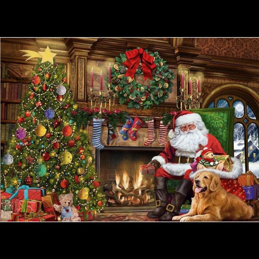 De kerstman bij de open haard - puzzel van 500 stukjes-2