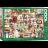 Eurographics Puzzles Vintage Kerstkaarten - puzzel van 1000 stukjes