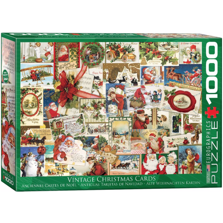 Vintage Christmas Cards - 1000 pieces - jigsaw puzzle-1