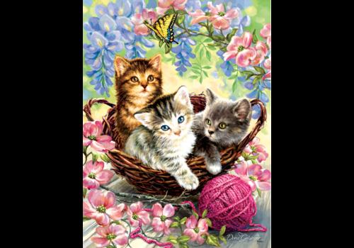 Kittens en bloemen - 500 XL stukjes