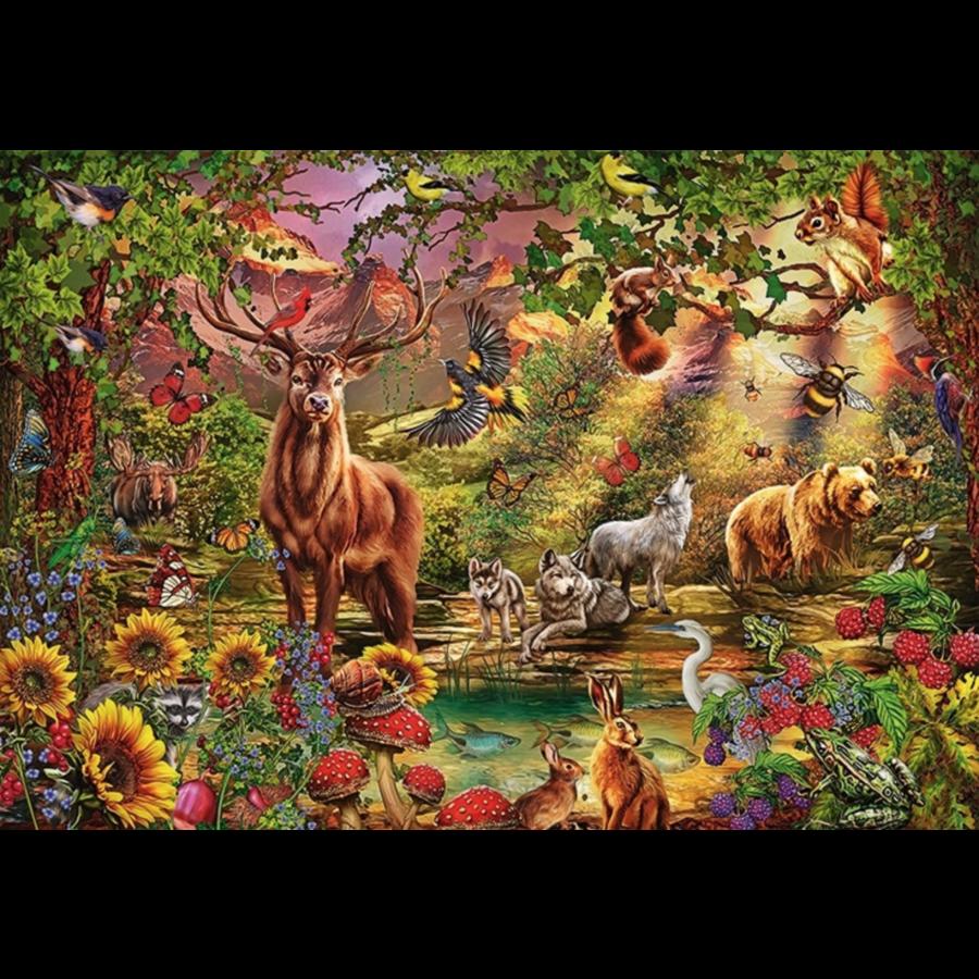 La forêt magique au coucher du soleil - puzzle de 2000 pièces-2