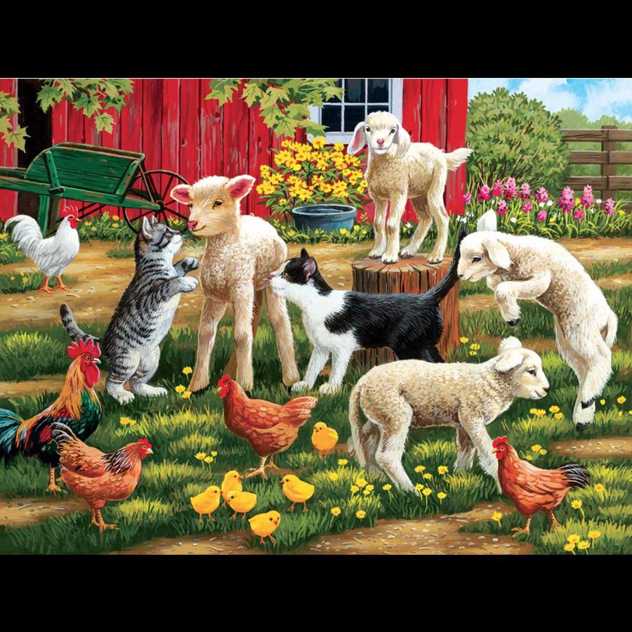 Des agneaux en liberté  - puzzle de 300 XXL pièces-1