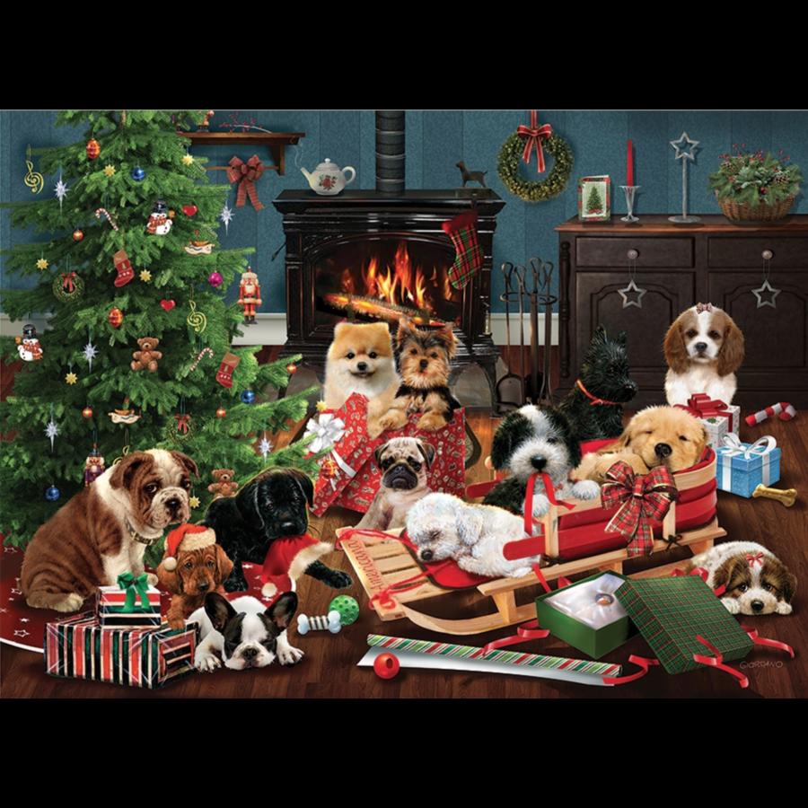 Christmas puppies - puzzel van 1000 stukjes-1