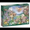 Falcon Uilen in het bos - puzzel van 1000 stukjes