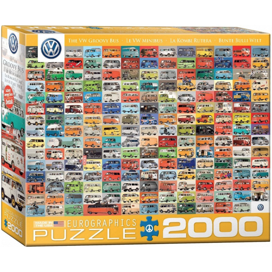 Volkswagen Groovy Bus - Collage - puzzel van 2000 stukjes-1