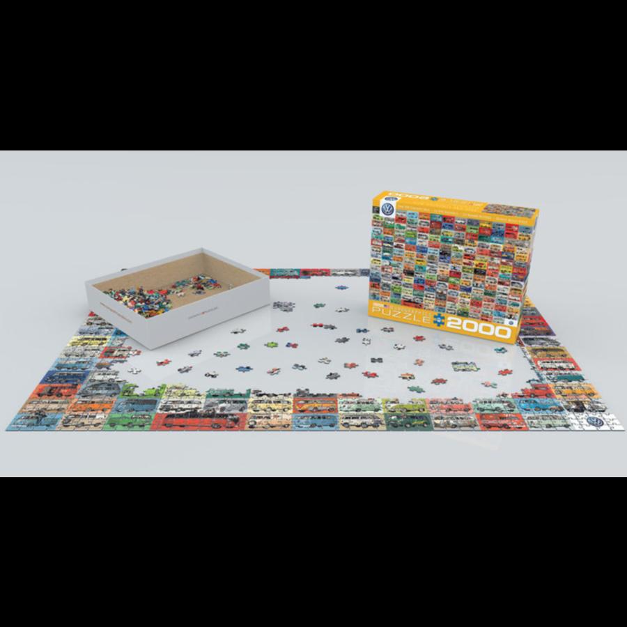 Volkswagen Groovy Bus - Collage - puzzel van 2000 stukjes-3