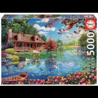 thumb-Chalet du lac - puzzle de 5000 pièces-1