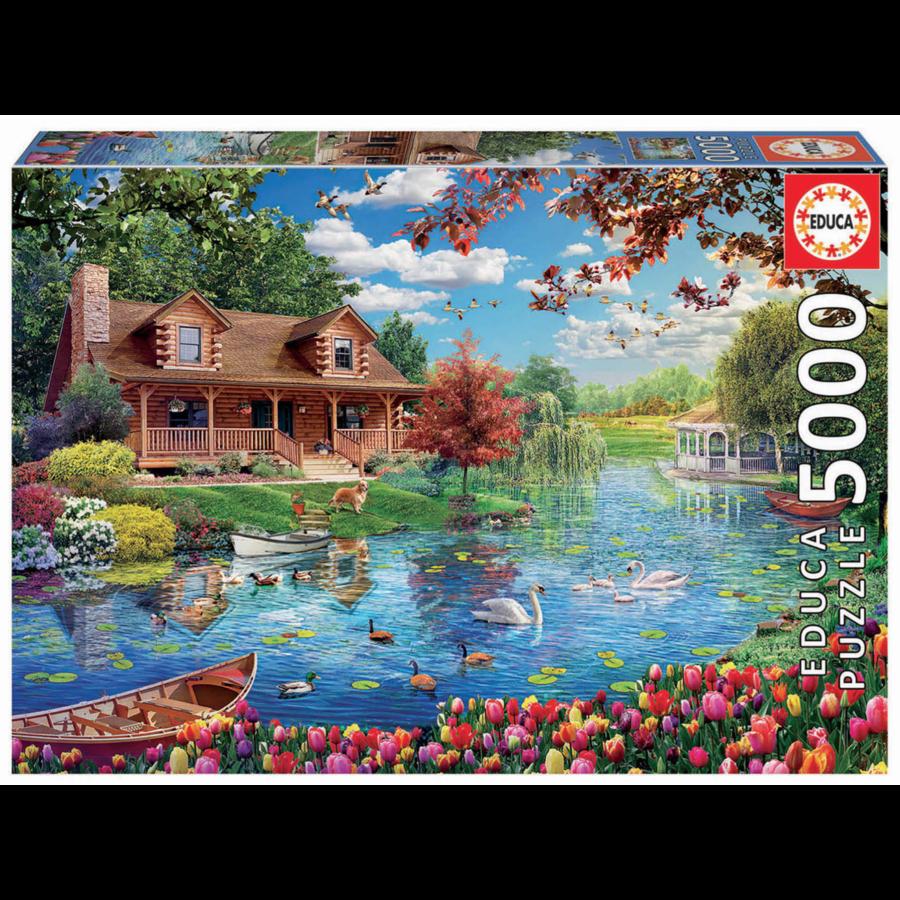 Chalet du lac - puzzle de 5000 pièces-1