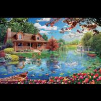 thumb-Chalet du lac - puzzle de 5000 pièces-2