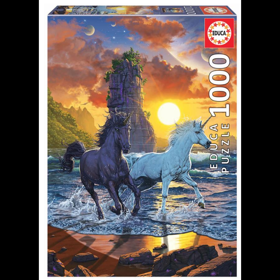 Licornes sur la plage - puzzle de 1000 pièces-1