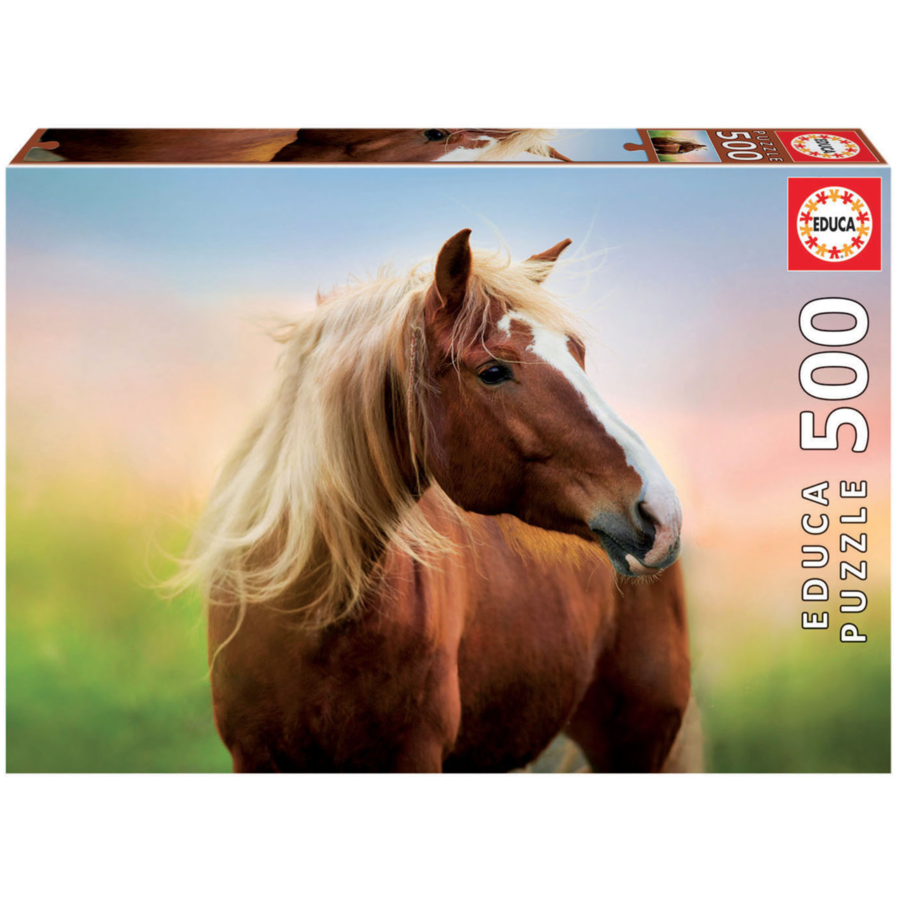Cheval au lever du soleil - puzzle de 500 pièces-1