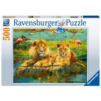 thumb-Lions dans la savane - puzzle de 500 pièces-1