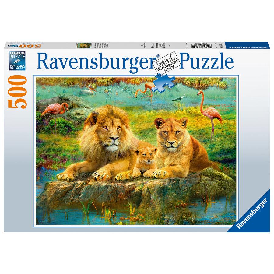 Lions dans la savane - puzzle de 500 pièces-1