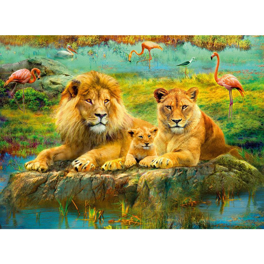 Lions dans la savane - puzzle de 500 pièces-2