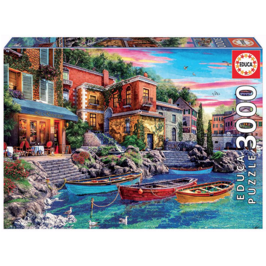 Ondergaande zon in Como - puzzel van 3000 stukjes-2