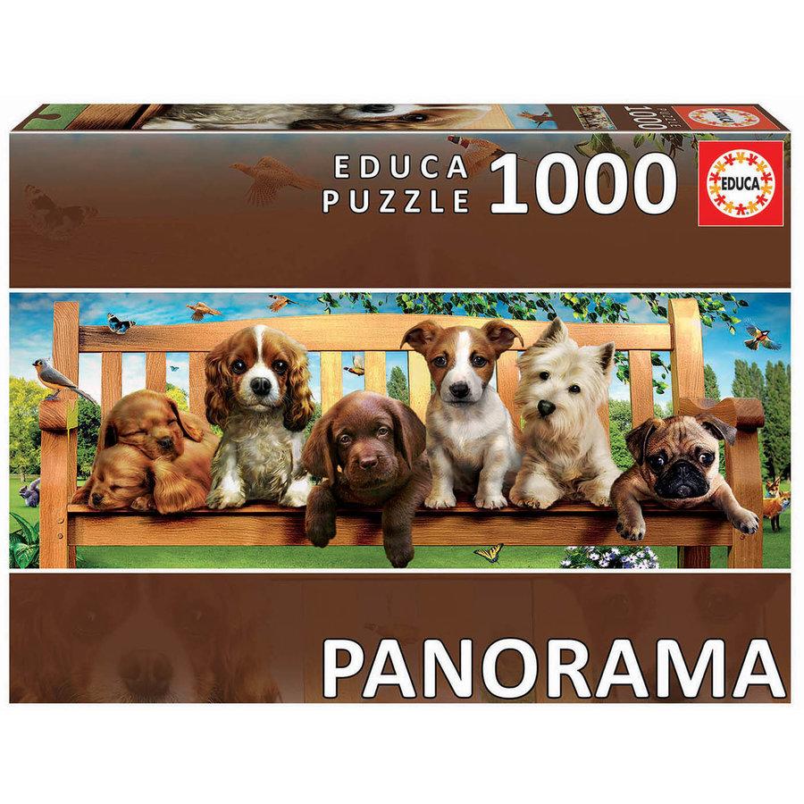 Puppies op de bank - puzzel 1000 stukjes - Panorama-1