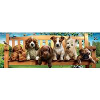 thumb-Puppies op de bank - puzzel 1000 stukjes - Panorama-2