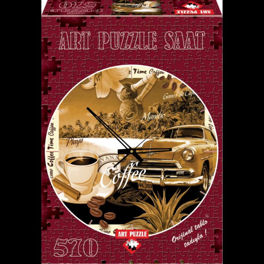 Puzzle Horloge - Heure du café - puzzle et horloge de 570 pièces-2