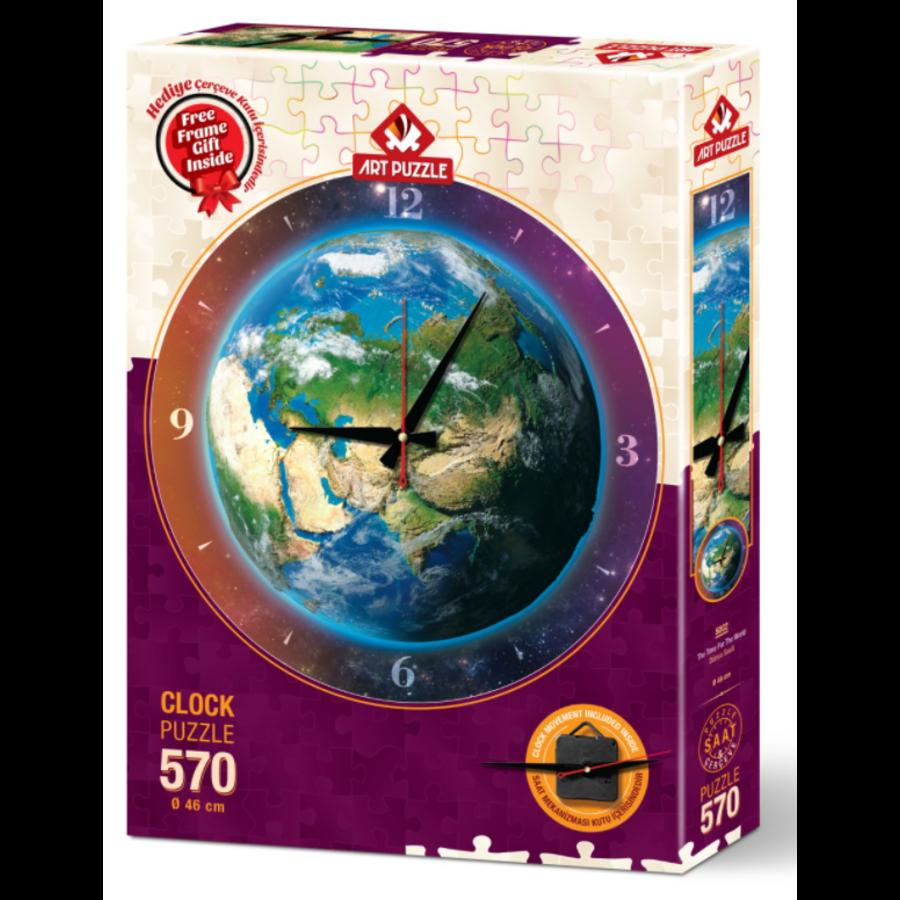 Puzzle Horloge - Monde du temps - puzzle et horloge de 570 pièces-2