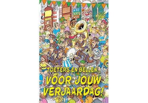 Comello  VIP Jan van Haasteren Wenskaart - Toeters en bellen voor jouw verjaardag!