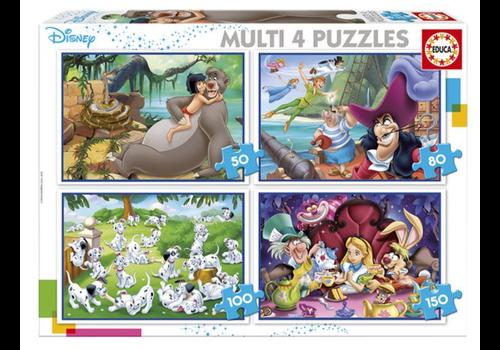 Educa Classiques Disney - 4 puzzles 50 / 80 / 100 / 150 pièces