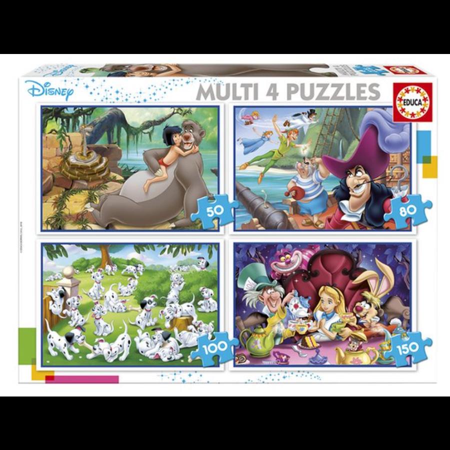 Disney Klassiekers - 4 puzzels van 50 / 80 / 100 / 150 stukjes-1