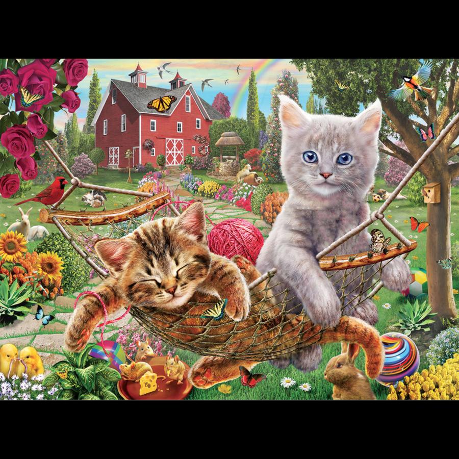 Les chats dans le hamac - puzzle de 300 XXL pièces-1
