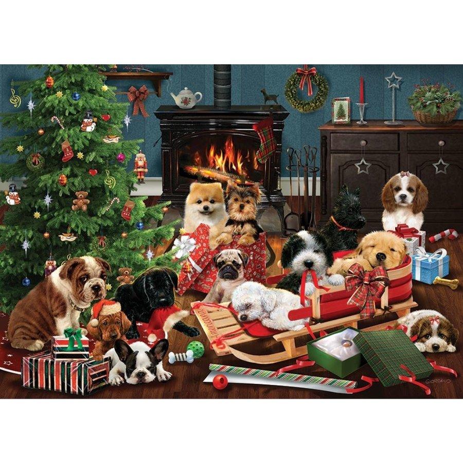 Kerst Puppies - puzzel van 500 XL stukjes-1