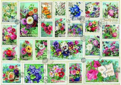 Bluebird Puzzle Collection de timbres des fleurs - 2000 pièces