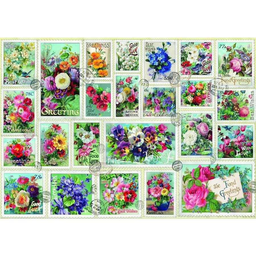 Bloemen Postzegel Collectie - puzzel van 2000 stukjes-1