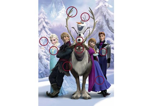 Frozen - zoek de verschillen puzzel - 100 XXL stukjes