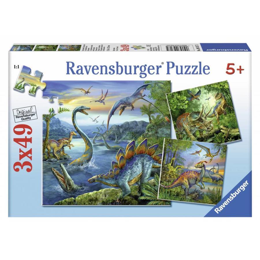 Dinosauriërs - 3 x 49 stukjes-1
