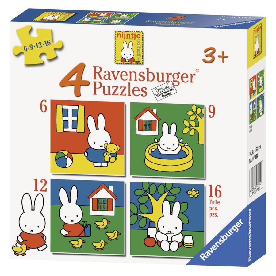 Miffy / Nijntje -  4 puzzles d'enfants de 6 + 9 + 12 + 16 pièces-6