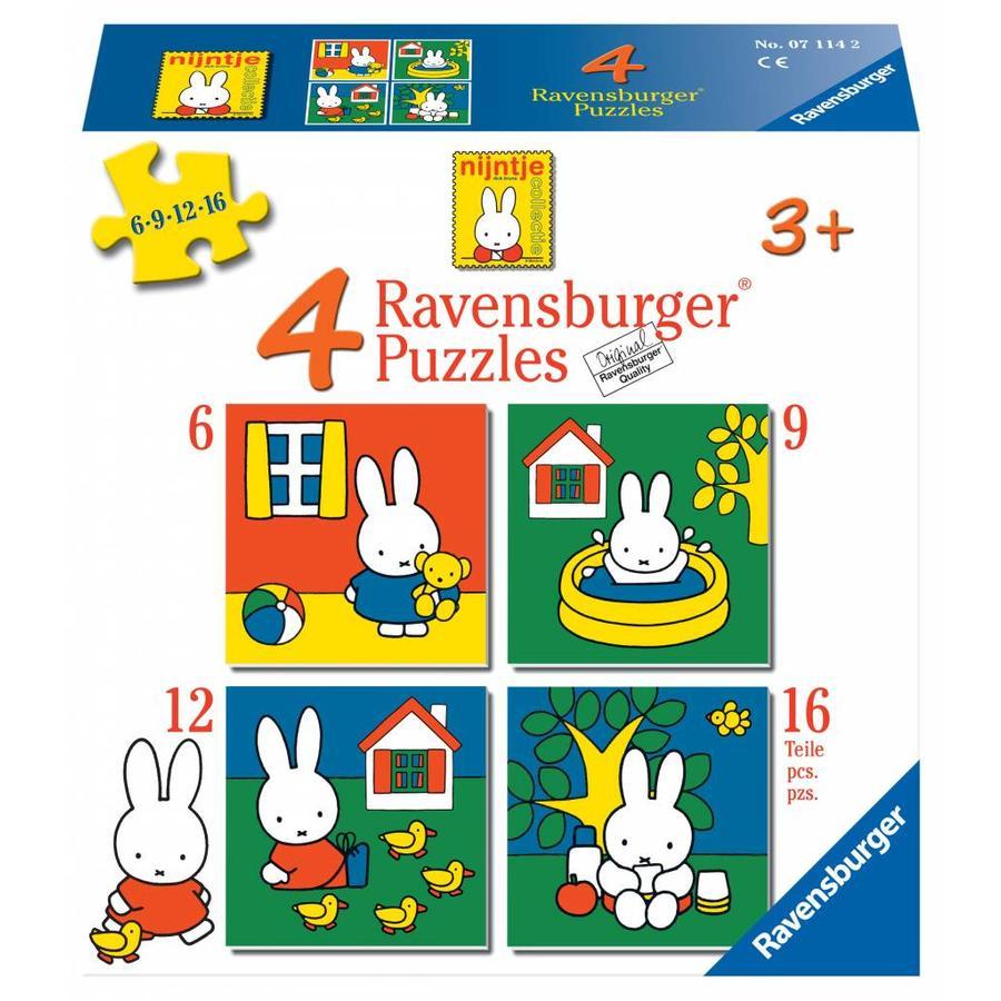 Miffy / Nijntje -  4 puzzles d'enfants de 6 + 9 + 12 + 16 pièces-1