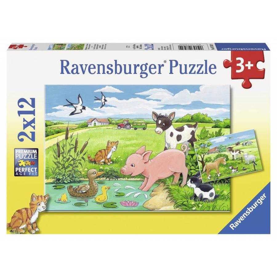 Jonge dieren op het platteland - 2 x 12 stukjes-1