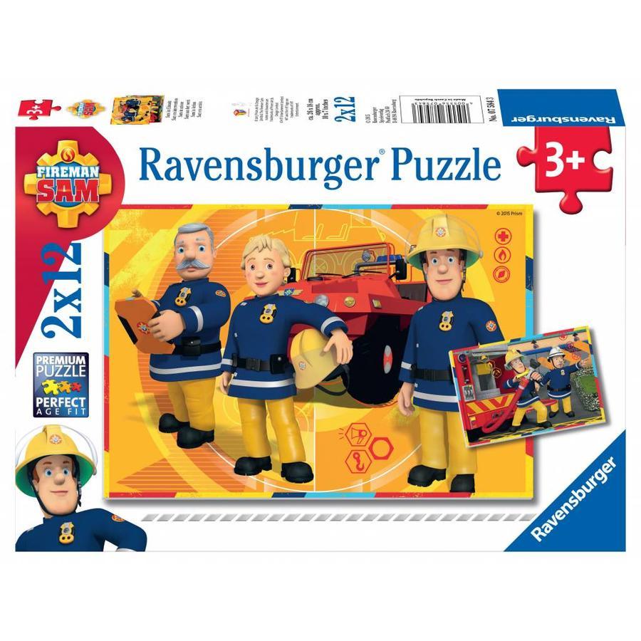 SAM pompier en action - 2 puzzles de 12 pièces-1