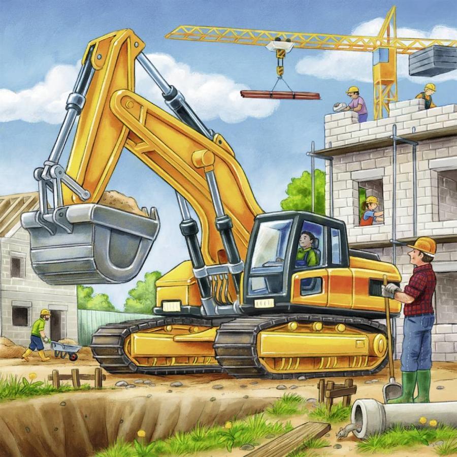 Grote bouwvoertuigen - 3 x 49 stukjes-2