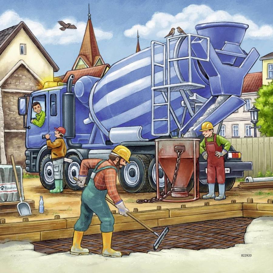 Grote bouwvoertuigen - 3 x 49 stukjes-3