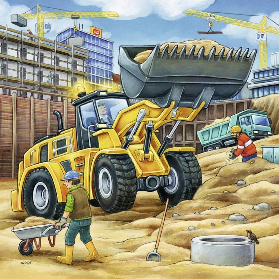 Grote bouwvoertuigen - 3 x 49 stukjes-1