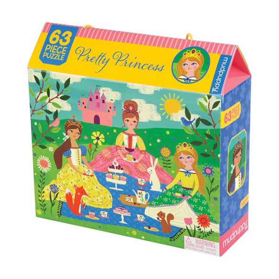 Op theekransje met prinsesjes - legpuzzel van 63 stukjes-1