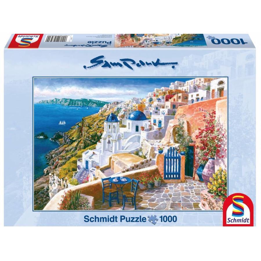 Zicht op het wondermooie Santorini - 1000 stukjes-1