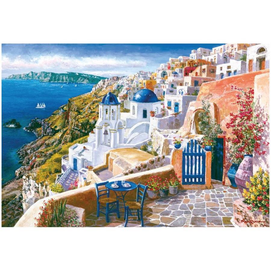 Zicht op het wondermooie Santorini - 1000 stukjes-2