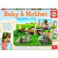 Moeder en baby - 6 puzzeltjes met 2 stukjes