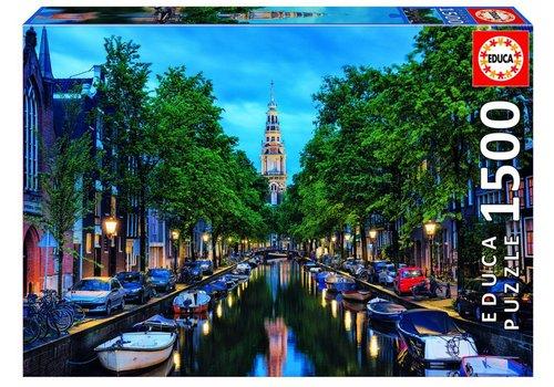 Amsterdamse gracht bij valavond - puzzel 1500 stukjes