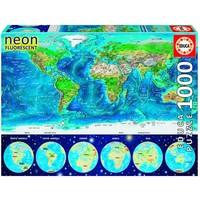 thumb-Wereldkaart - Glow in the Dark - puzzel 1000 stukjes-1