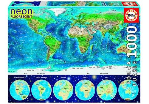 Educa Wereldkaart - Glow in the Dark- puzzel 1000 stukjes