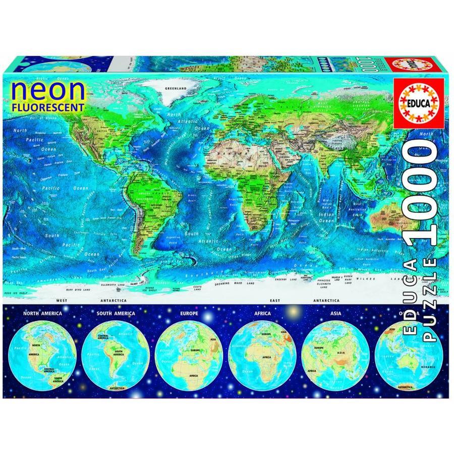 Wereldkaart - Glow in the Dark - puzzel 1000 stukjes-1