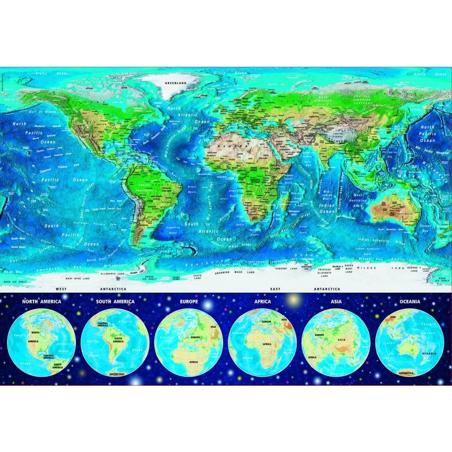 Wereldkaart - Glow in the Dark - puzzel 1000 stukjes-2