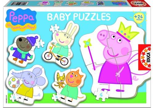 5 puzzels van Peppa Pig - 3 à 5 stukjes